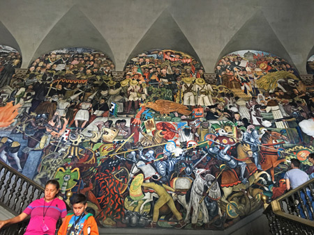 The History of Mexico from the Spanish Conquest to 1931 (1929-1931) by Diego Rivera at the Palacio Nacional in Mexico City, Mexico.