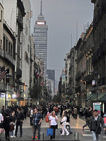 Looking toward the Torre Latinoamericana skyscraper in Mexico City, Mexico.