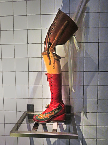 Frida Kahlo's prosthetic leg at the Frida Kahlo Museum in Mexico City, Mexico.