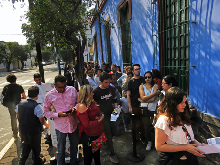 The long line to get into the Frida Kahlo Museum in Mexico City, Mexico.
