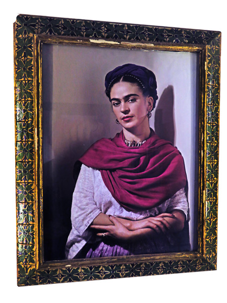 Frida With Magenta Muffel by Nickolas Muray at the Frida Kahlo Museum in Mexico City, Mexico.
