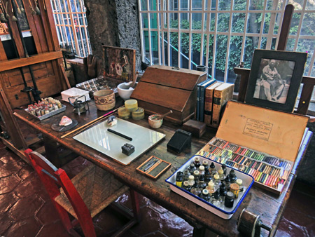 Frida Kahlo's art table at the Frida Kahlo Museum in Mexico City, Mexico.