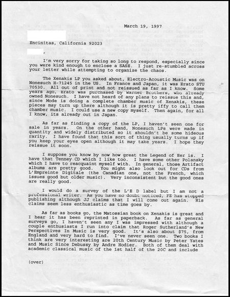 Letter From Conrad Conrad - March 19, 1997.