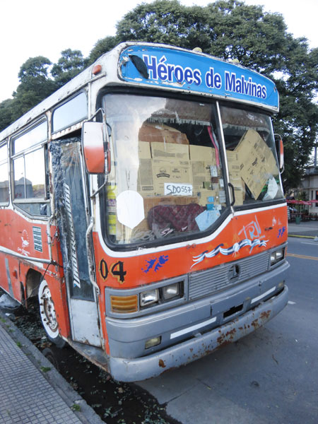 A bus full of cardboard on Avenue TA Rodriguez in Buenos Aires, Argentina.