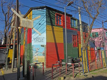 A multi-colored building in La Boca, Buenos Aires, Argentina.
