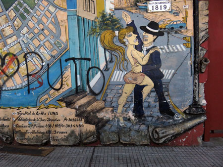 A tango mural in La Boca, Buenos Aires, Argentina.