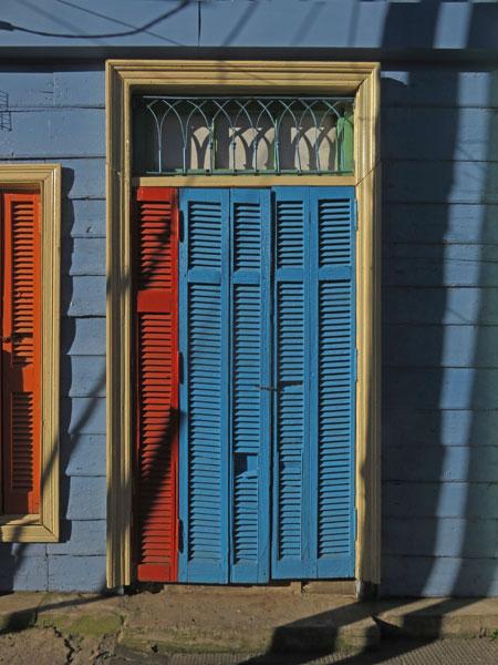 A shuttered door in La Boca, Buenos Aires, Argentina.
