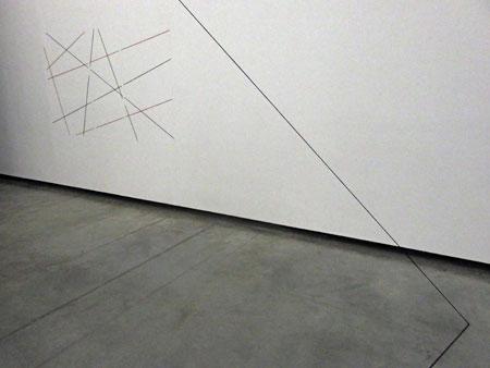 Fred Sandback, untitled, at the Fundacion Proa in La Boca, Buenos Aires, Argentina.