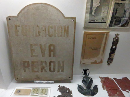 A display of trinkets at the Museo Evita in Palermo, Buenos Aires, Argentina.