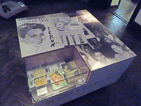 A display of literature at the Museo Evita in Palermo, Buenos Aires, Argentina.