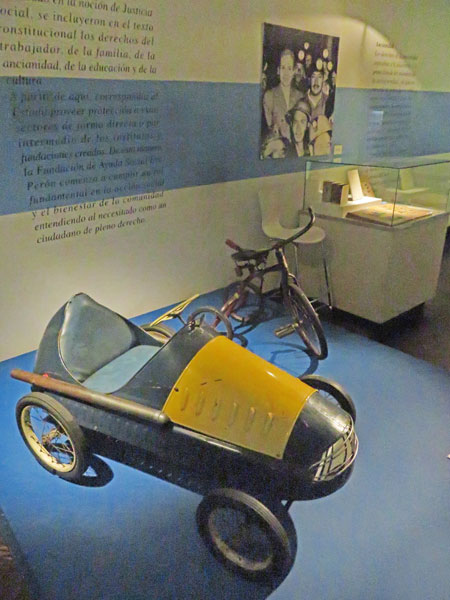 A go cart and a tricycle at the Museo Evita in Palermo, Buenos Aires, Argentina.