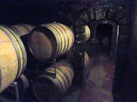 Barrels of wine at Bodega Viña el Cerno in Maipu, near Mendoza Argentina.