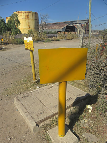 A sign made out of egg yokes in Maipu, near Mendoza Argentina.