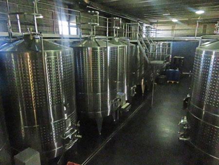 Wine storage tanks at Bodega Tempus Alba in Maipu, near Mendoza Argentina.