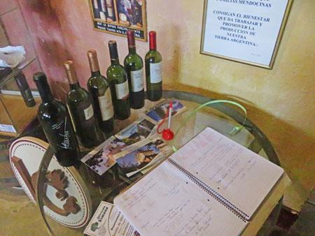 Bottles of wine on display at Bodega Viña el Cerno in Maipu, near Mendoza Argentina.