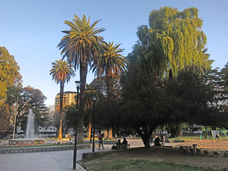 Sunset at Plaza Chile in Mendoza, Argentina.