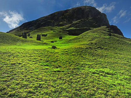 Moai at Rano Raruku, Rapa Nui, Chile.