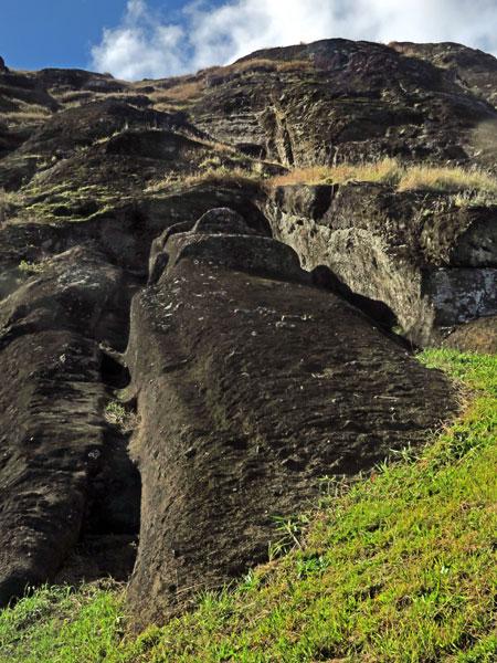 A Moai in the quarry at Rano Raruku, Rapa Nui, Chile.