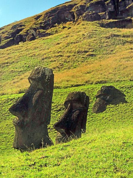 A pair of Moai at Rano Raruku, Rapa Nui, Chile.