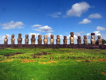 A row of 15 Moai at Tongariki, Rapa Nui, Chile.