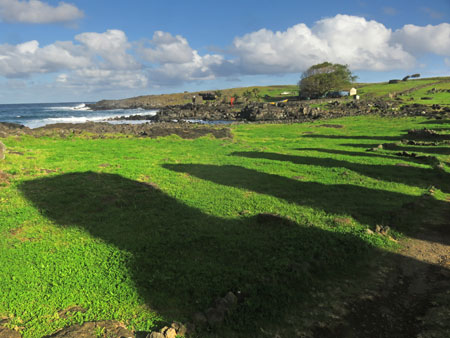 The Moai cast a long shadow at Tongariki, Rapa Nui, Chile.