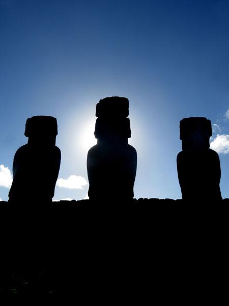 Moai silhouettes at Tongariki, Rapa Nui, Chile.
