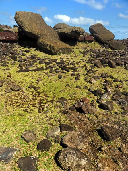 Toppled Moai at Vaihu, Rapa Nui, Chile.