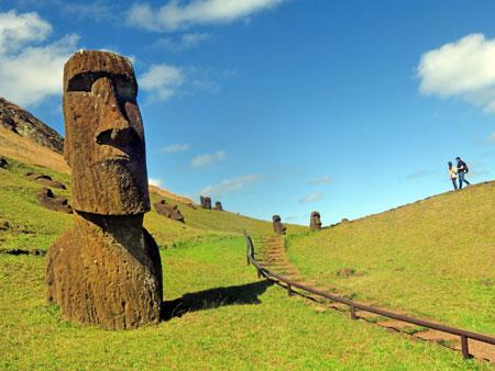 A Moai at Rano Raruku, Rapa Nui, Chile.