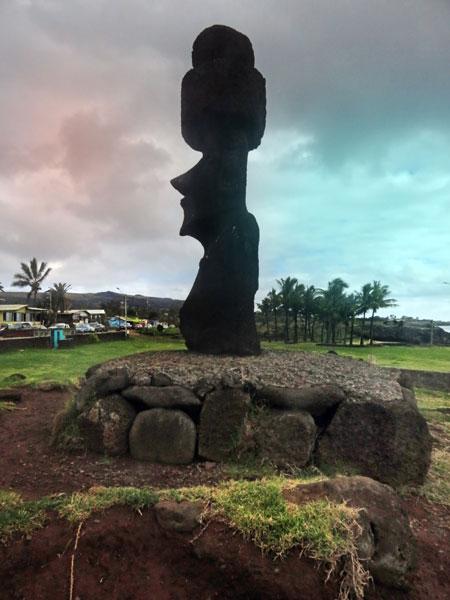 A profile of another Moai in Hanga Roa, Rapa Nui, Chile.