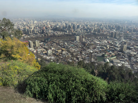 The view from near the top of Cerro San Cristobal in Santiago, Chile.