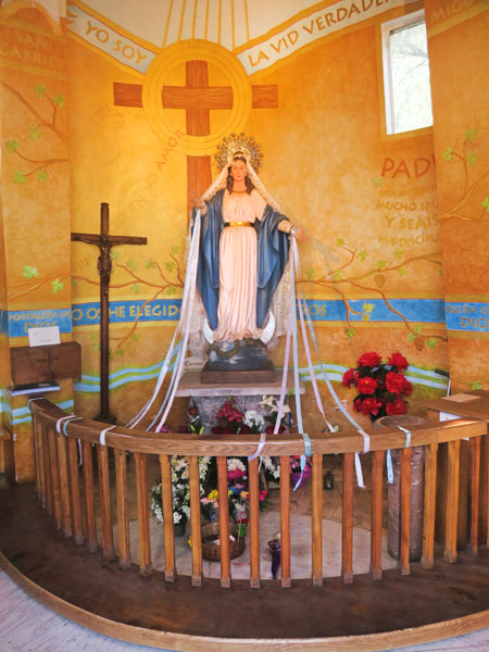 A shrine inside the base of the statue of the Virgin Mary on top of Cerro San Cristobal in Santiago, Chile.