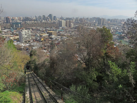 Looking down the funicular track on Cerro San Cristobal in Santiago, Chile.
