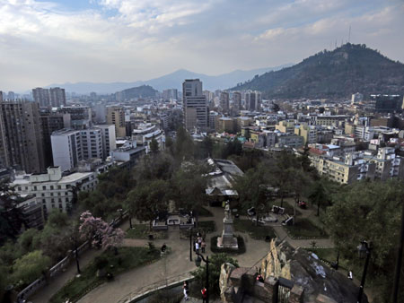 A view from the top of Cerro Santa Lucia in Santiago, Chile.