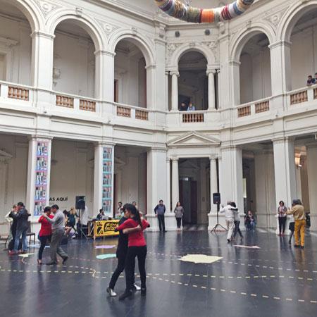 It takes two to waltz at the Museo Nacional de Bellas Artes in Santiago, Chile.