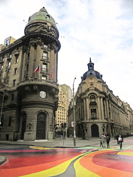 Photogenic buildings at the intersection of Avenidas Bandera and Moneda in Santiago, Chile.