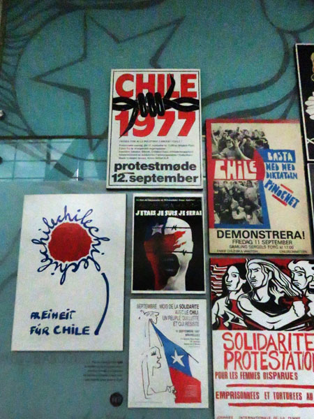 A collection of posters protesting Augusto Pinochet's 1973-1990 military dictatorship in Chile at the Museo de la Memoria y Los Derechos Humanas in Yungay, Santiago, Chile.