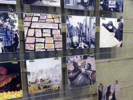 A collection of photos taken during Augusto Pinochet's 1973-1990 military dictatorship in Chile at the Museo de la Memoria y Los Derechos Humanas in Yungay, Santiago, Chile.