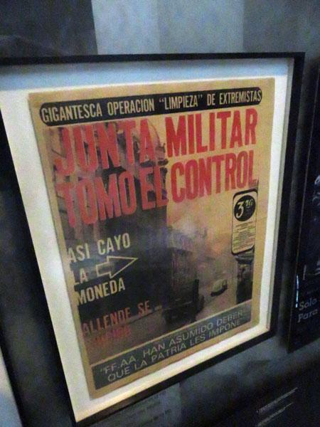 A magazine announcing the rise of Augusto Pinochet's 1973-1990 military dictatorship in Chile at the Museo de la Memoria y Los Derechos Humanas in Yungay, Santiago, Chile.
