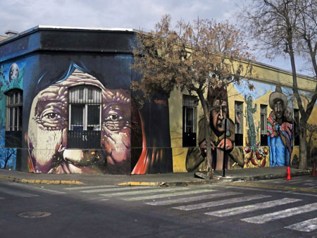 Another vibrant mural in Yungay, Santiago, Chile.