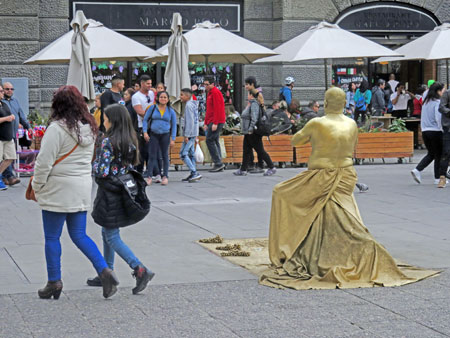 A street performer practices his craft at the Plaza de Armas in Santiago, Chile.