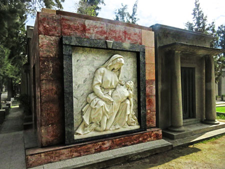 A couple of crypts at the Cementerio General de Santiago, Chile.