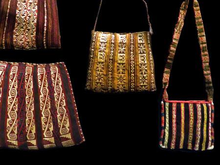 Intricately woven handbags at the Museo Chileno de Arte Precolombino in Santiago, Chile.