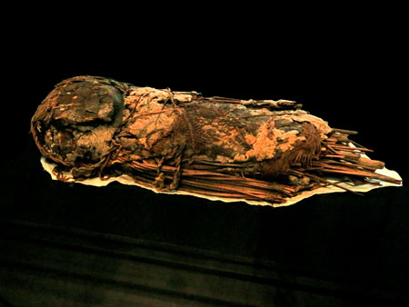 An infant mummy made by Chinchorro fishermen at the Museo Chileno de Arte Precolombino in Santiago, Chile.