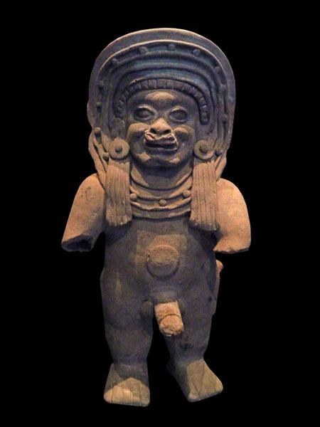 A masculine figure made by the La Tolita people (circa 500 AD) at the Museo Chileno de Arte Precolombino in Santiago, Chile.