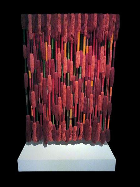 Lianas Rojas (2019) by Sheila Hicks at the Museo Chileno de Arte Precolombino in Santiago, Chile.