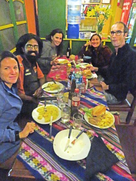 Dinner at the Koala Cafe in Potosi, Bolivia.