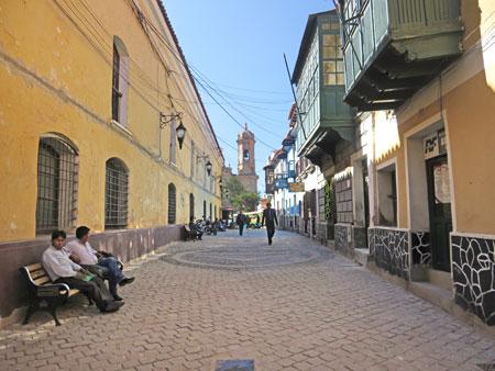 Looking north toward the Catedral Metropolitana del Apóstol Santiago in Potosi, Bolivia.