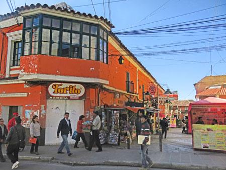 A busy street corner in Potosi, Bolivia.
