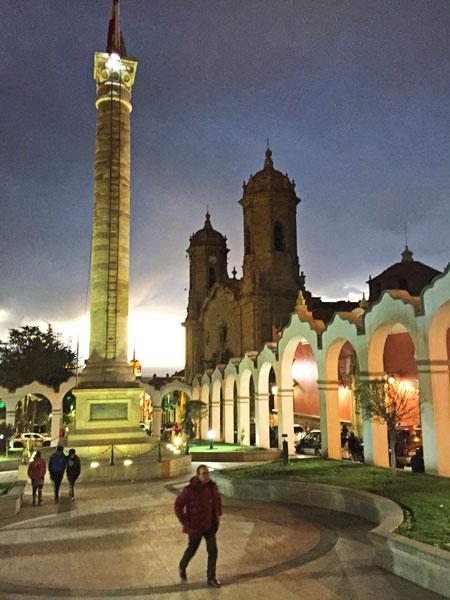 The Obelisco Potosi all lit up at night in Potosi, Bolivia.