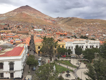 Cerro Rico, as seen from the bell tower on top of the Catedral Metropolitana del Apóstol Santiago in Potosi, Bolivia.